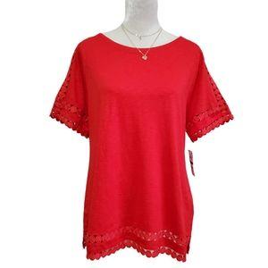 Charter Club T-shirt Circle-Trim Core Knit Red